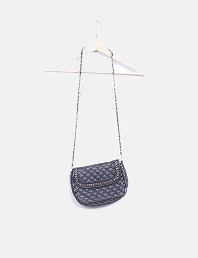 Bolso acolchado negro cadena