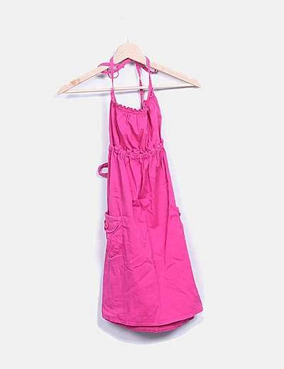 Vestido mini rosa con cintura elastica