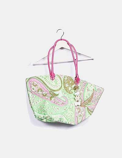 Bolso verde estampado cachemira