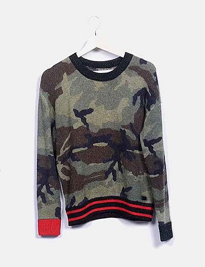 Jersey tricot estampado camuflaje