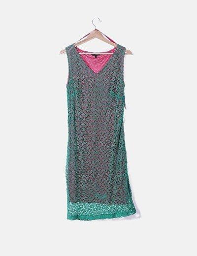 Vestido crochet verde combinado