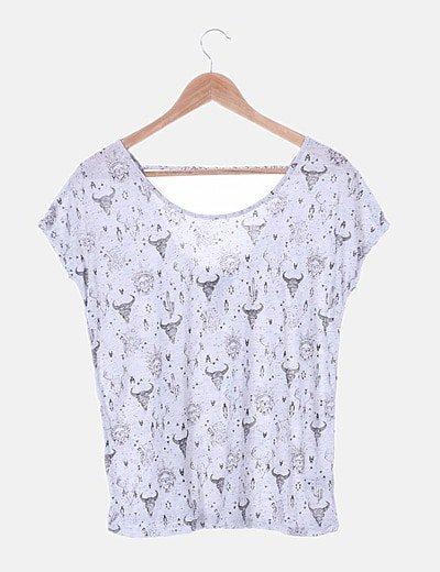 Camiseta gris estampada