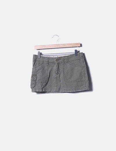 Mini falda denim verde