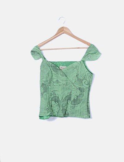 Blusa verde estampado snake