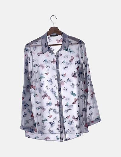 Camisa fluida blanca print mariposas