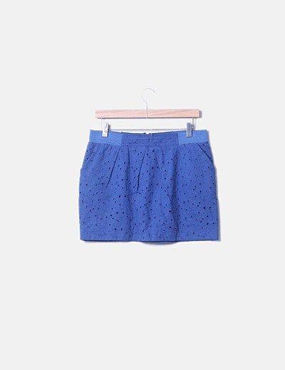 Falda troquelada azul