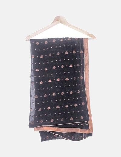 Pañuelo gasa negro con bordado