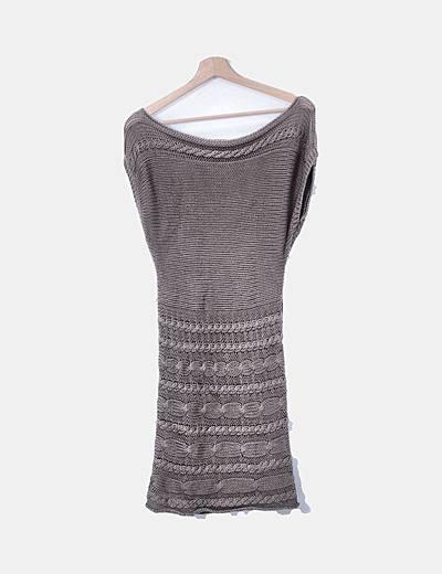 Vestido tricot taupe manga corta
