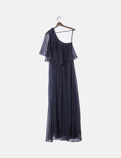 Maxi vestido gasa azul marino con volante