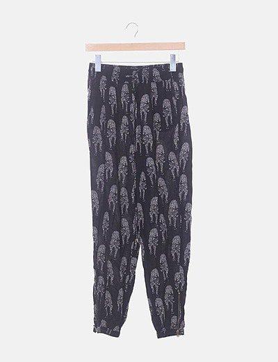 Pantalón jogging negro estampado