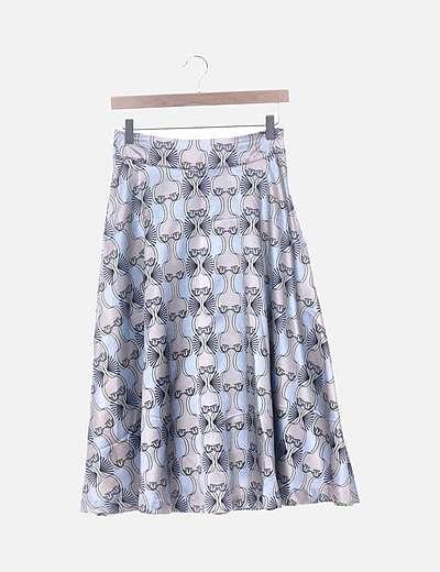 Falda midi satinada estampada