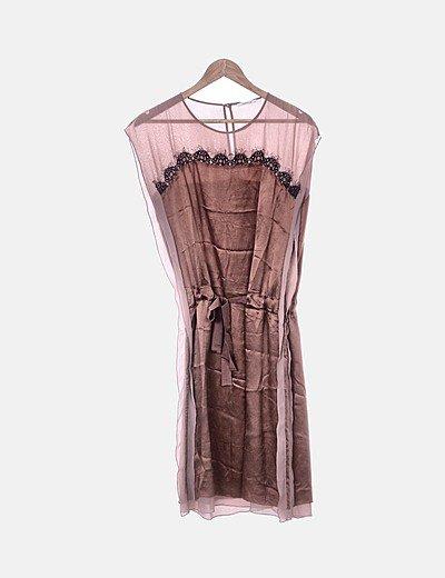 Vestido lencero marrón combinado