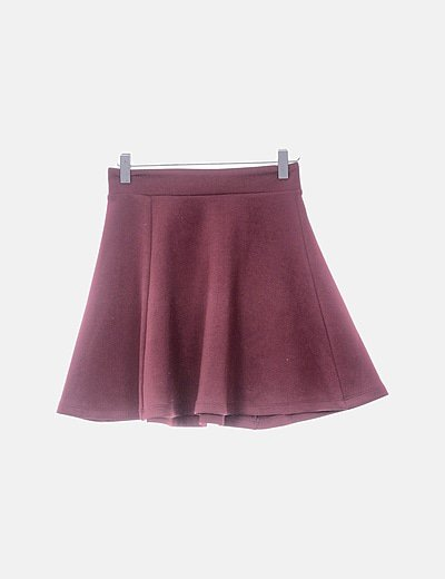 Mini falda evasé burdeos