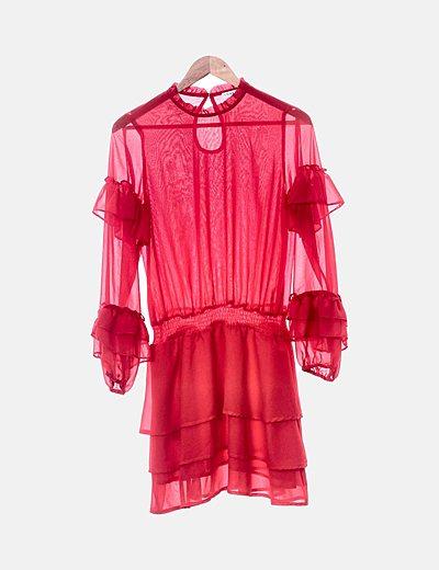 Vestido volantes rojo