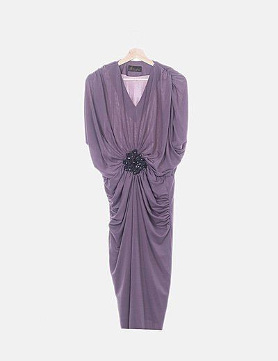 Vestido midi morado drapeado