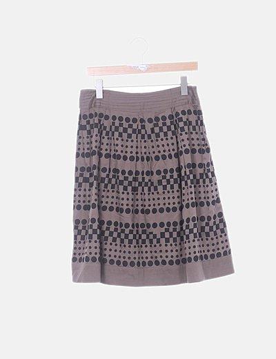 Falda midi marrón estampado