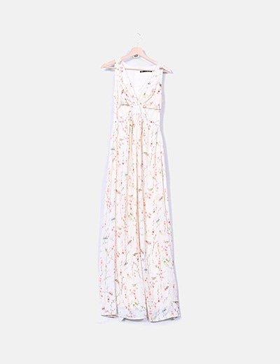 Maxi vestido color crudo estampado floral