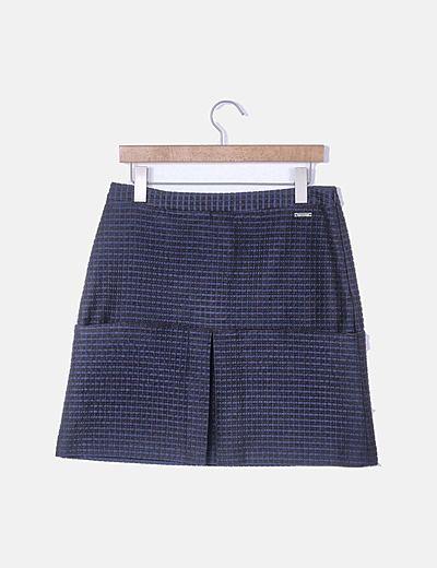 Falda texturizada azul marino