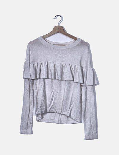 Camiseta tricot blanca con vuelo