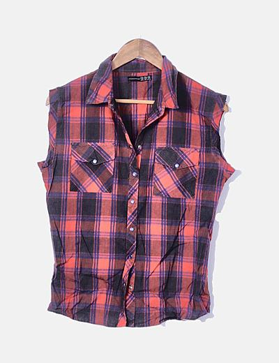 Camisa de cuadros sin mangas