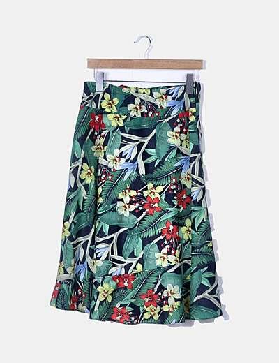 Falda midi verde print tropical