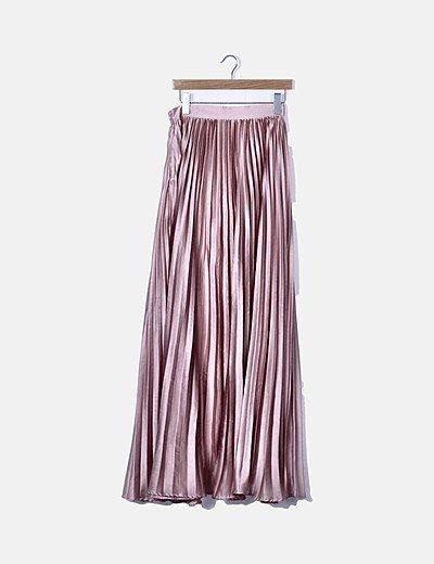 Falda maxi plisada rosa
