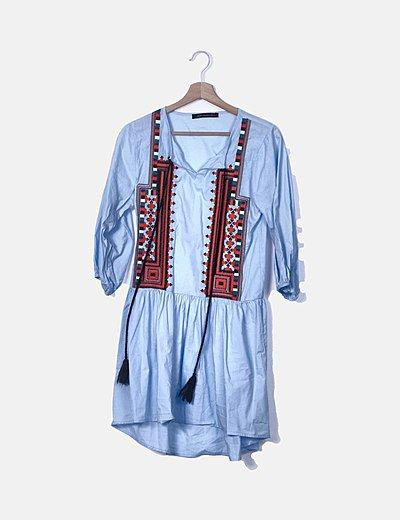 Vestido azul étnico