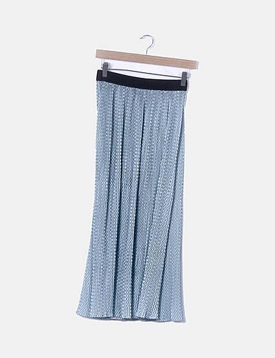 Falda plisada azul estampada