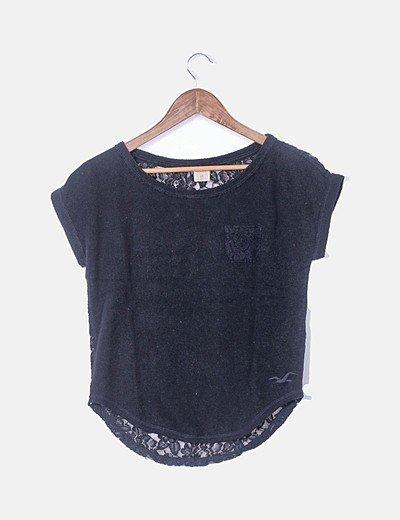 Camiseta tricot combinado azul marino