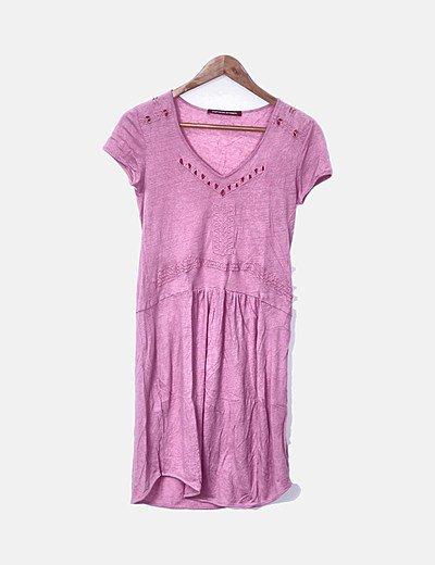 Vestido rosa con manga corta