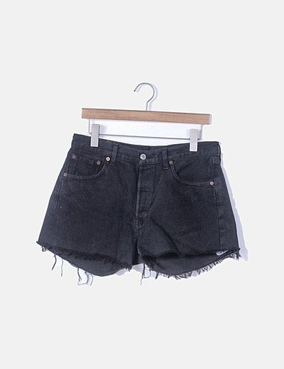 Short denim negro desflecado