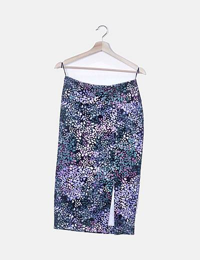 Falda estampado multicolor con abertura