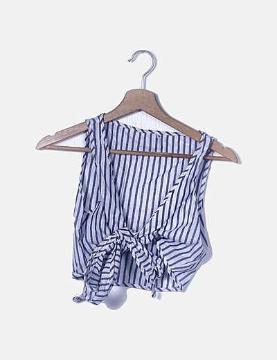 Conjunto shorts y Blusa rayas azules