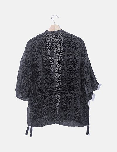 Zara Blusa peplum negra estampada (descuento 84 %) Micolet