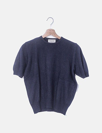 Camiseta azul marina tricot