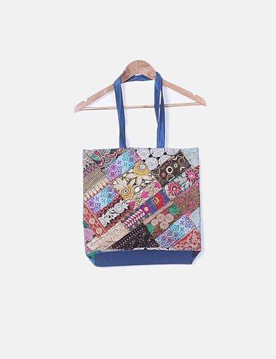 Bolsa azul bordado multicolor