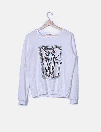 Sudadera blanca print elefante paillettes