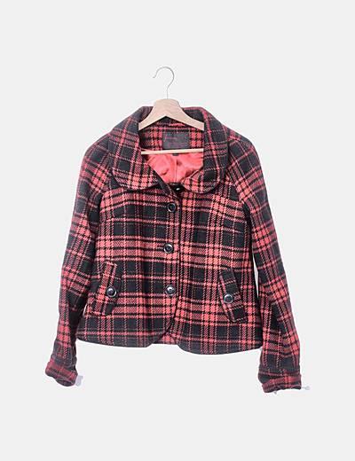Abrigo tricot rojo estampado