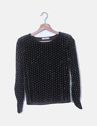 Conjunto de camiseta y falda velvet negro strass