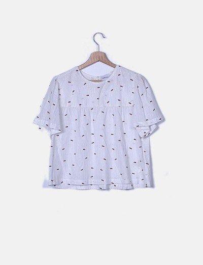 Blusa blanca estampada raya glitter