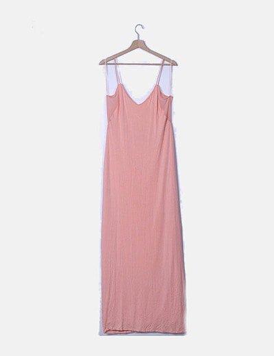 Vestido maxi de tirantes color rosa