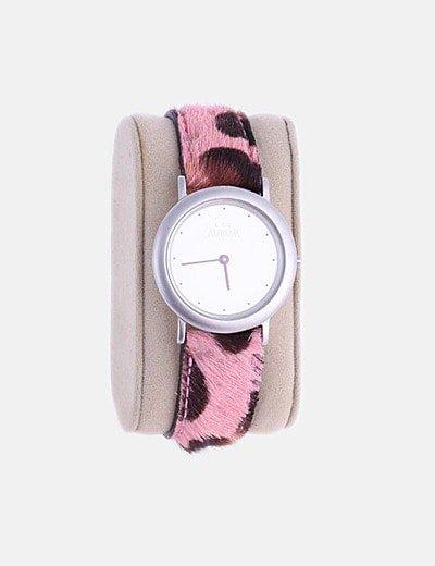 Reloj animal print rosa
