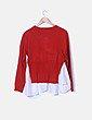 Jersey tricot rojo combinado blusa MUSE