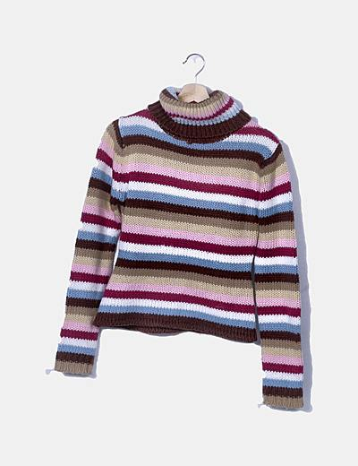 Jersey tricot rayas multicolor