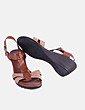 Sandalia de piel marrón NoName