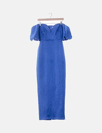 Vestido maxi azul klein escote corazón
