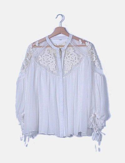 Blusa gasa blanca combinada