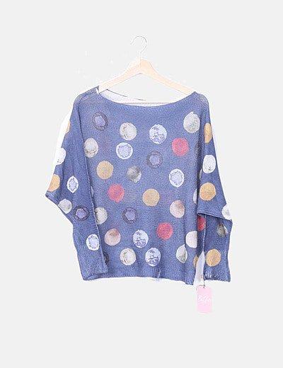 Suéter azul puntos multicolor