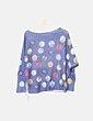 Suéter azul puntos multicolor be chic