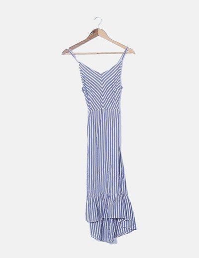 Vestido de rayas azul y blanco espalda entrelazada